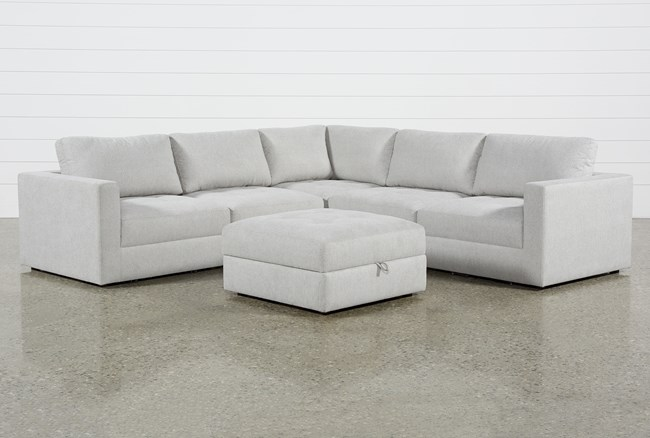 Mikhail Grey 5 Piece Sectional With Ottoman - 360