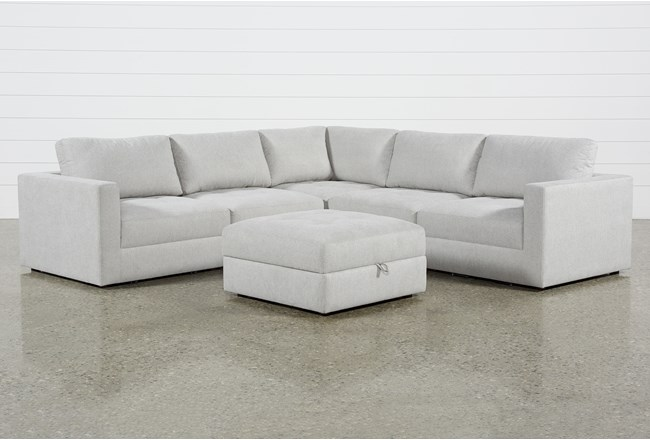 Mikhail Grey 5 Piece Sectional With Ottoman 360