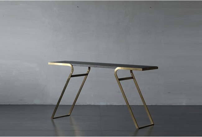 Elm And Steel Sofa Table - 360