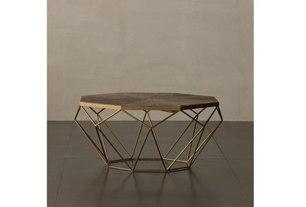 Geo Elm And Iron Coffee Table