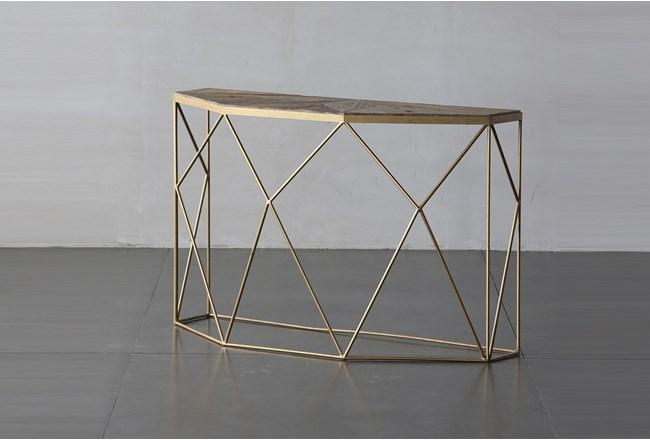 Geo Elm And Iron Sofa Table - 360