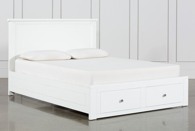 Larkin White California King Panel Bed With Storage - 360