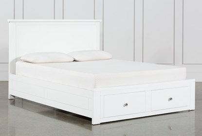 Larkin White Queen Panel Bed With, White Queen Size Platform Beds With Storage