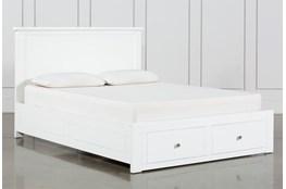 Larkin White Eastern King Panel Bed With Storage