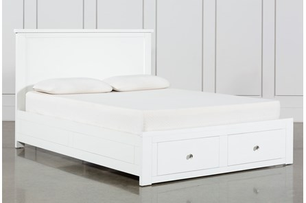 Larkin White Eastern King Panel Bed With Storage