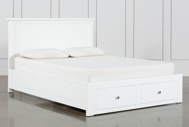 Larkin White Eastern King Panel Bed With Storage - 360