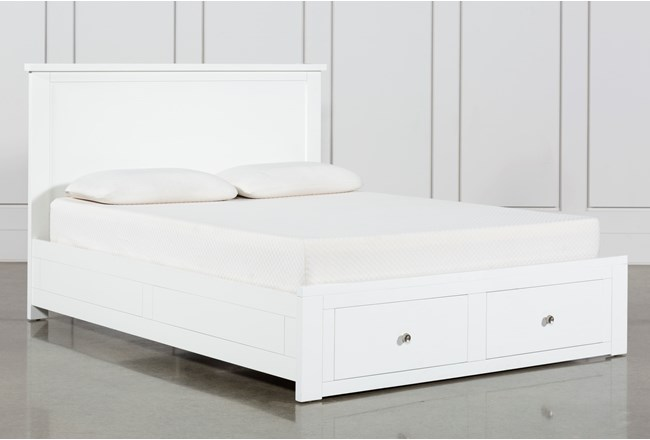 Larkin White Full Panel Bed With Storage - 360