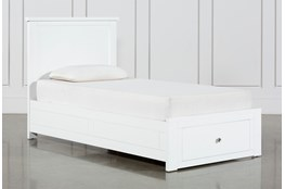 Larkin White Twin Panel Bed With Storage