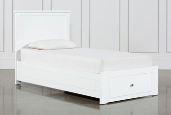Larkin White Twin Panel Bed With Storage