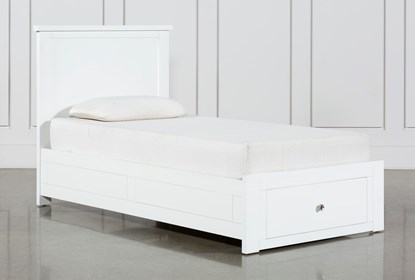 Larkin White Twin Panel Bed With