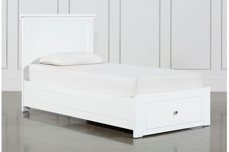 Larkin White Twin Panel Bed With Storage - Main