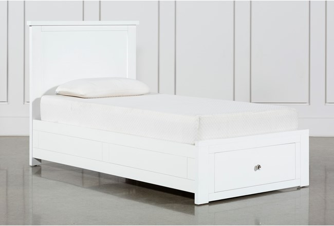 Larkin White Twin Panel Bed With Storage - 360