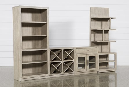 Pierce Natural 4 Piece Wall With Bookcase And Entertainment Piers - Main