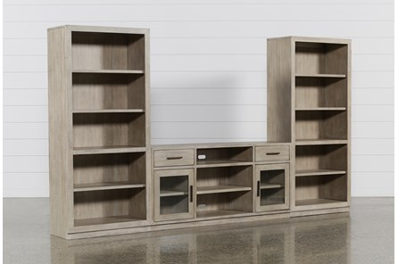 Pierce Natural 3 Piece Wall With 64 Inch Tv Stand And Bookcase Piers - Main
