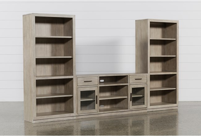 Pierce Natural 3 Piece Wall With 64 Inch Tv Stand And Bookcase Piers - 360