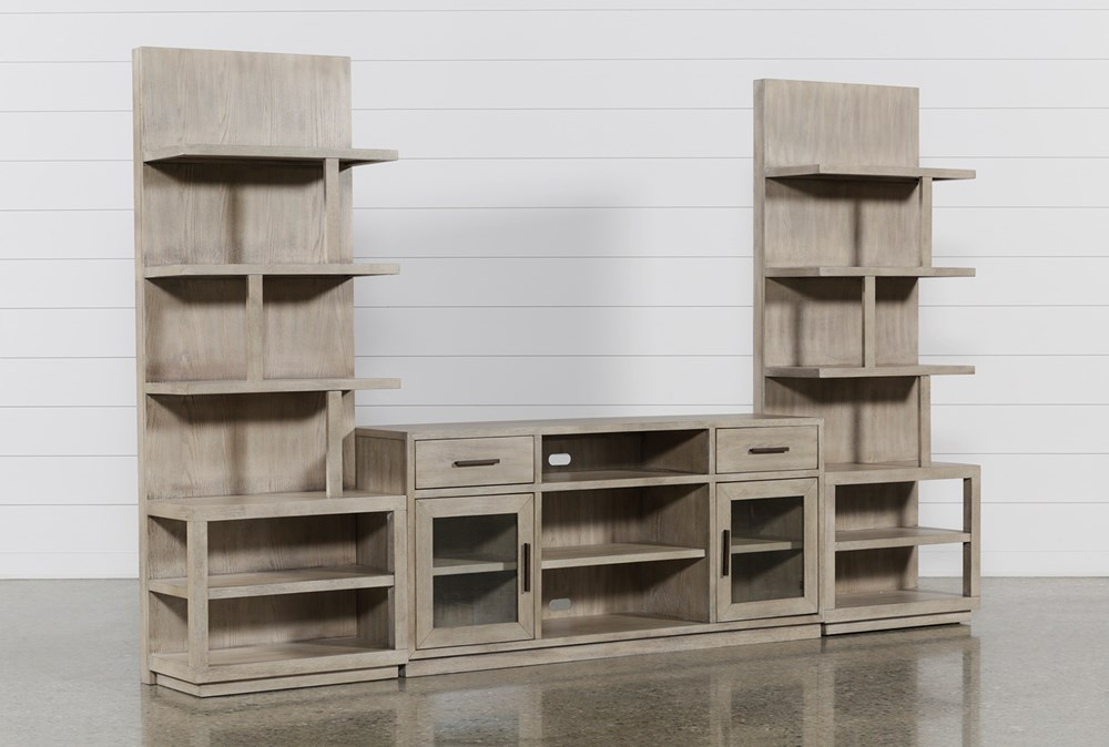 Pierce Natural 3 Piece Wall With 64 Inch Tv Stand And Ent Piers