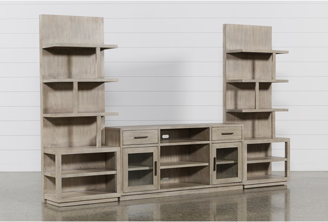 Pierce Natural 3 Piece Wall With 64 Inch Tv Stand And Ent Piers - 360
