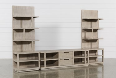 Pierce Natural 3 Piece Wall With 72 Inch Tv Stand And Entertainment Piers