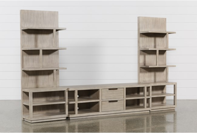 Pierce Natural 3 Piece Wall With 72 Inch Tv Stand And Entertainment Piers - 360