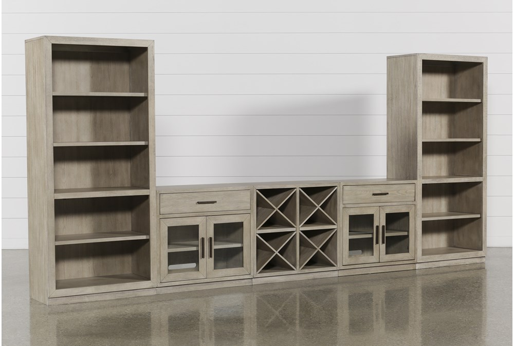 Pierce Natural 5 Piece Wall With Bookcase Piers