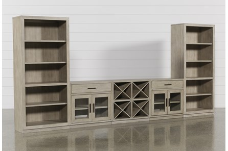 Pierce Natural 5 Piece Wall With Bookcase Piers - Main