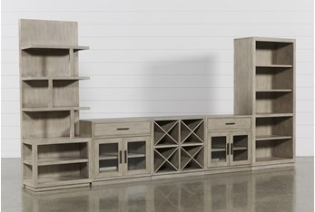 Pierce Natural 5 Piece Wall With Bookcase And Entertainment Piers