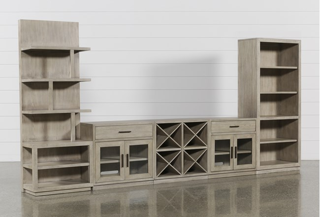 Pierce Natural 5 Piece Wall With Bookcase And Entertainment Piers - 360