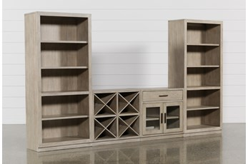 Pierce Natural 4 Piece Wall With Bookcase Piers