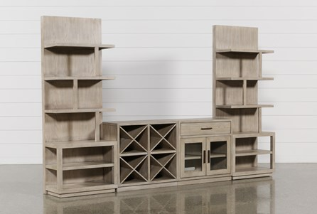 Pierce Natural 4 Piece Wall With Entertainment Piers - Main