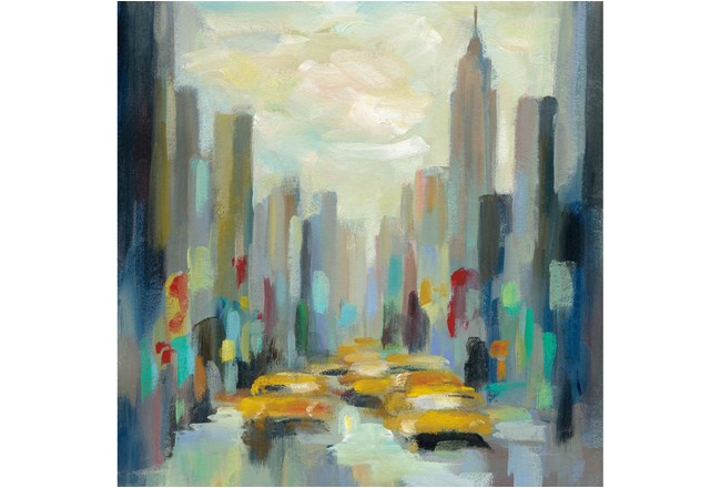Picture-Yellow Cabs Framed Canvas 36X36 - 360