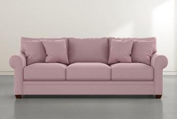 "Cameron II 101"" Pink Velvet Sofa"