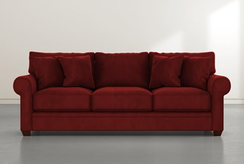 "Cameron II 101"" Burgundy Velvet Sofa"