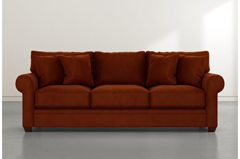 "Cameron II 101"" Orange Velvet Sofa"