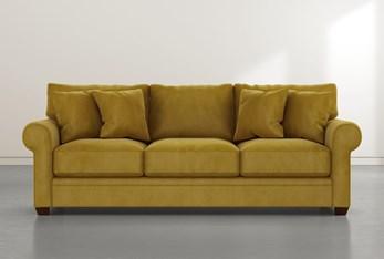 """Cameron II 101"""" Gold Velvet Sofa"""