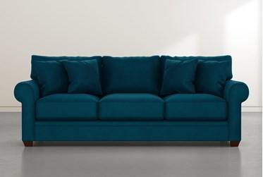 "Cameron II 101"" Teal Blue Velvet Sofa"