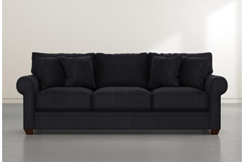 "Cameron II 101"" Dark Grey Velvet Sofa"