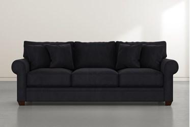 """Cameron II 101"""" Dark Grey Velvet Sofa"""