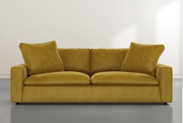 "Utopia 96"" Gold Velvet Sofa"