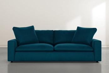 """Utopia 96"""" Teal Blue Velvet Sofa"""