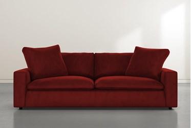 """Utopia 96"""" Burgundy Velvet Sofa"""
