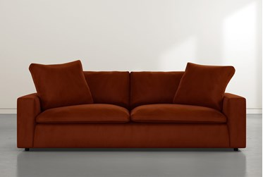 "Utopia 96"" Orange Velvet Sofa"