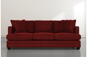 "Kiara II 90"" Burgundy Velvet Sofa"