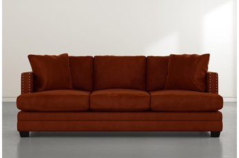 Kiara II Orange Velvet Sofa