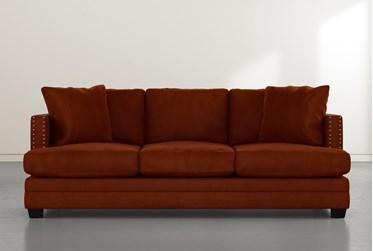 """Kiara II 90"""" Orange Velvet Sofa"""