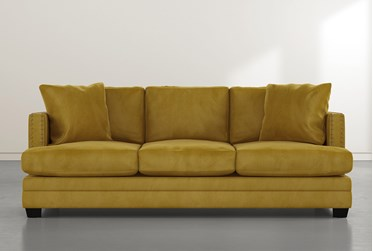 "Kiara II 90"" Gold Velvet Sofa"