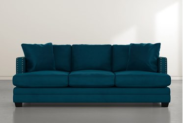 "Kiara II 90"" Teal Blue Velvet Sofa"