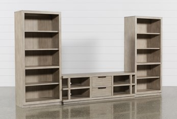 Pierce Natural 3 Piece Wall With 72 Inch Tv Stand And Bookcase Piers