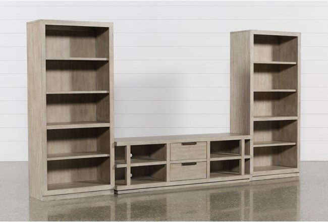 Pierce Natural 3 Piece Wall With 72 Inch Tv Stand And Bookcase Piers - 360
