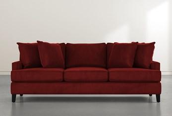 """Madalyn 91"""" Burgundy Velvet Sofa"""