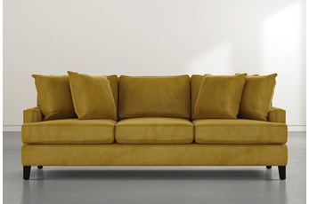 "Madalyn 91"" Gold Velvet Sofa"